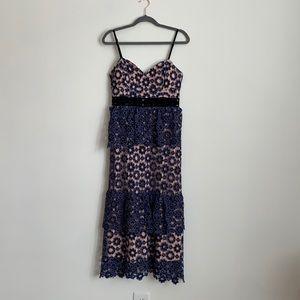 Anthropologie Just Me purple lace dress maxi